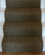 Jute Stair Carpet with Black Stripes